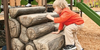 Log Stack Climber w/Wood-Grain Handholds
