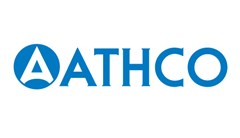Athco logo made of blue circle with white triangle inside with rounded bottom. Blue text to right reading: Athco.