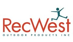 RecWest Outdoor Products logo made of rainbow child stick figures doing cart wheels around red text reading: RecWest. Purple text below reads: Outdoor Products,