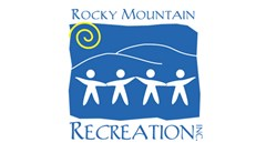 Rocky Mountain Recreation logo made of blue rectangle, yellow swirl top left corner, white hills, four white children silhouettes. Text above the rectangle reads: Rocky Mountain. Text below the rectangle reads: Recreation