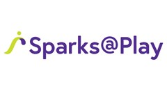 Sparks@Play logo made of a S shape curving over itself with green dot above. Purple text to the right reading: Sparks @ Play.