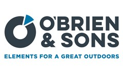 O'Brien and Sons Elements for a Great Outdoors logo made of a bold circle outline with blue triangle in the top right of the circle. Black text to right: O'Brien & Sons. Blue text below reading: Elements For a Great Outdoors.