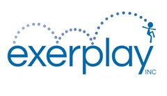 Exerplay logo made of dots changing in gradient of blue making bouncing ball path over the text below leading to a stick figure at the end of the Y in Exerplay INC.