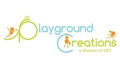 "Playground Creations A Division of ADS logo with a Slide off of ""p"" in playground. Orange child shape stick figure slides down slide. Orange child shape stick figure hangs upside down from feet by ""c"" in creations. Orange child shape stick figure runs across ""n"" and ""s"" in creations. Full text reads: playground creations a division of ADS."