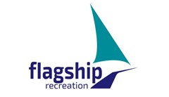 Flagship Recreation logo made of teal triangle shaped like boat sail with dark blue shape underneath to represent hull of ship. Text to the left of the ship hull reading: flagship recreation.