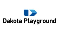 Dakota Playground Division of Dakota Fence logo made of a blue rectangle with a white triangle in the bottom right. White text in the rectangle reads: Park, Playground & Athletic Equipment. Black text below reading: Dakota Playground.