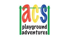 ACS Playground Adventures logo with a Red A, Yellow C, and Blue S hanging on green hang bar. A Landscape Structures playground rep.