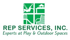 Rep Services logo made of four lighter green squares making up a window shape. White silhouetted images fill each square, one with a girl swinging on a swing, a gazebos roof, a playground slide, and a bench. Text below reads Rep Services, Experts at Play & Outdoor Spaces.