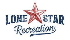 Lone Star Recreation logo made of navy blue distressed text reading Lone Star. A distressed red nautical star sits in between Lone and Star. Text below in distressed cursive font reads: recreation.