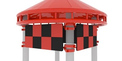 Silo Roof w/Checkered Panels