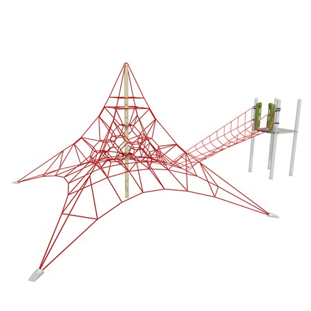 Pyramid shaped net playground climber with connecting net bridge to play structure.