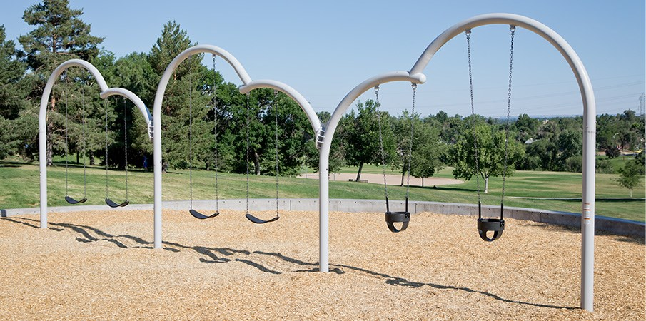 Playground swing set.