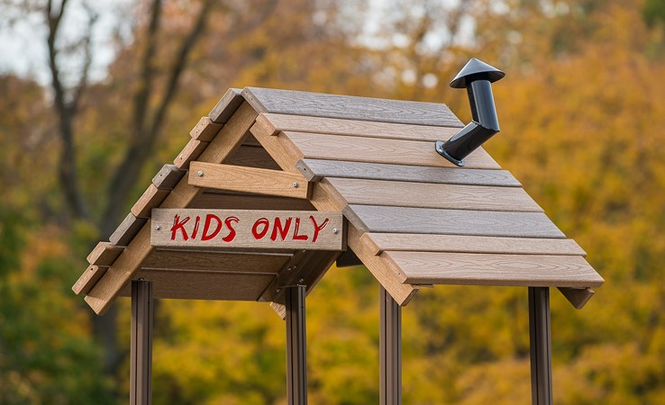 Recycled playground roof playground treehouse for How to build a treehouse roof