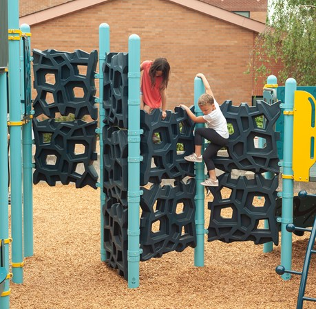 "Climbing panels of the GeoPlex® 123"" Deck-to-Deck attached to PlayBooster® posts and several different climbing options for kids to move from one deck to another."
