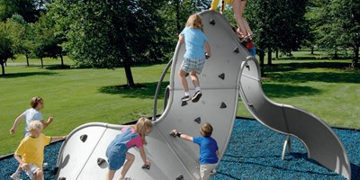This 3-dimensional Mobius Climber 7-Panel is silver with soft grips helping a group of kids climb up and around.