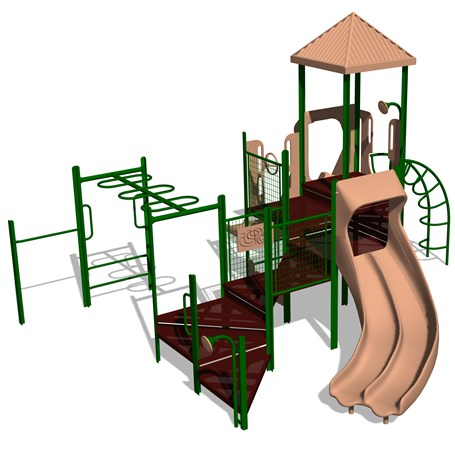 Playsense Design 402 Double Slide Monkeybar Chin Up Turning Bar Barriers Landscape Structures
