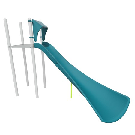 3D rendering of Alpine slide attached to PlayBooster deck as shown from a slide angle.