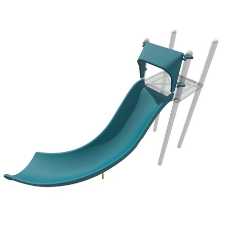 3D rendering of Alpine slide attached to PlayBooster deck as shown from a more top down orientation.