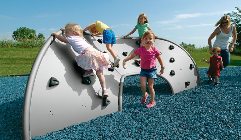 This version of the Mobius Climber has 3 climbing panels and is shown with a group of young children scaling to the top. It's unique 3-dimensional design provides challenge and soft grips help with the climb.
