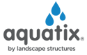 Aquatix logo made of three blue tear water drops above the Aquatix gray text Aquatix.
