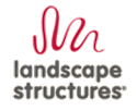 Landscape Structures logo is made of a red ribbon undulating above the text Landscape Structures.
