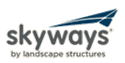 SkyWays shade logo made of four triangles skewed into the shape of a arrow head above the text of SkyWays by Landscape Structures.