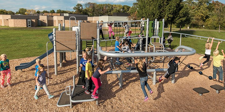 Children playing on a Venti playground at Birchview Elementary School.