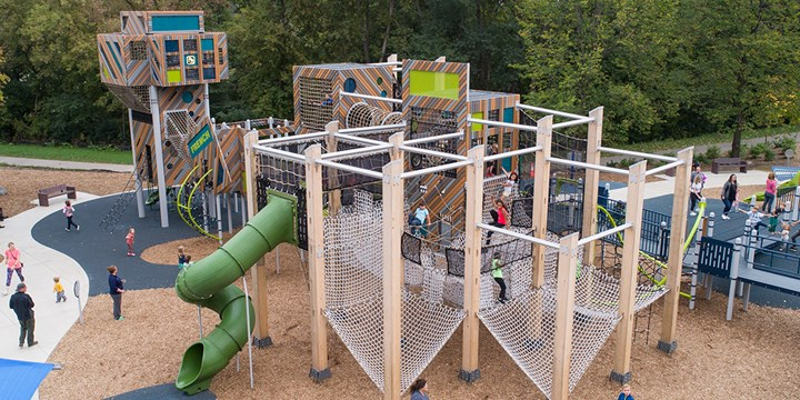Elevated view of the cargo net playground at French Regional Park.