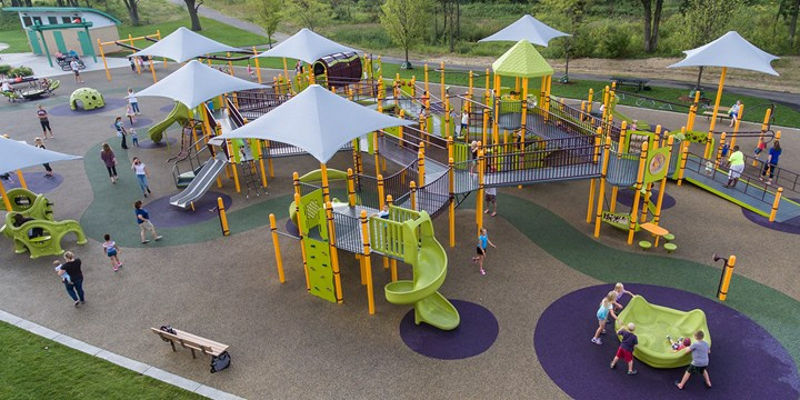 Elevated view of the inclusive playground at Madison's Place.