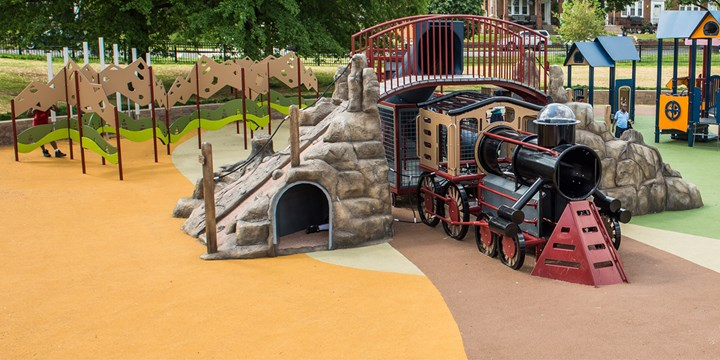 Train themed playstructure at the Turkey Thicket Recreation Center.