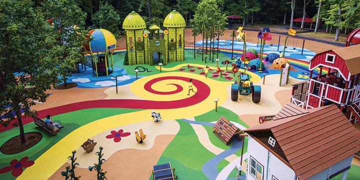 Elevated view of the custom Wizard of Oz playground at Watkins Regional Park