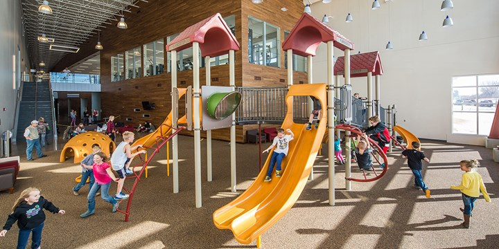 Indoor PlayBooster playground at the Williston Area Recreation Area.