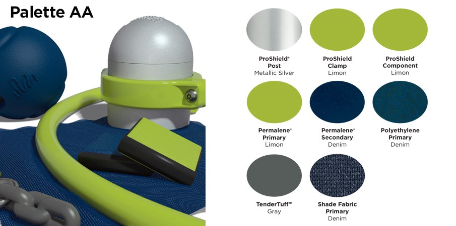 Proprietary color AA palette with colors of lime green, navy blue, and gray.
