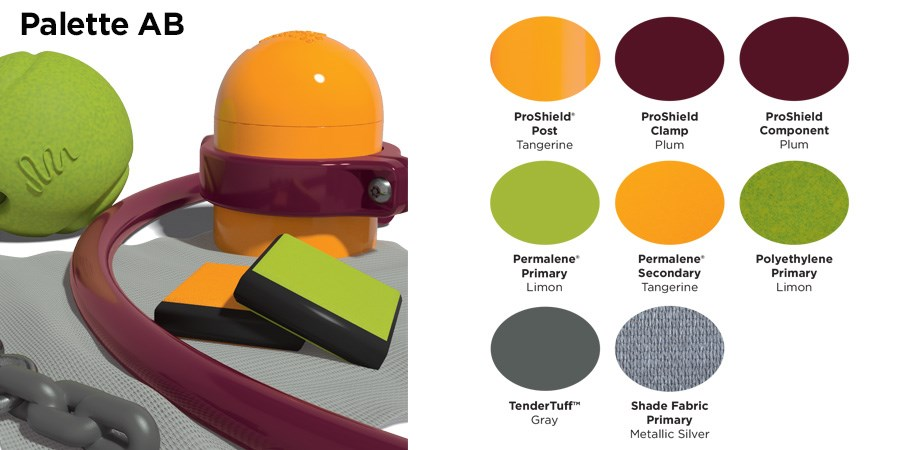 Proprietary color AB palette with colors of tangerine orange, maroon, lime green and gray.