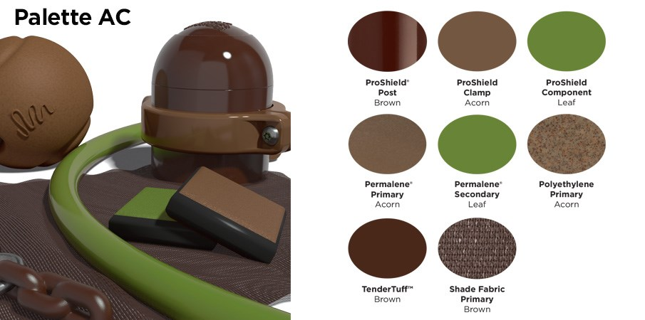 Proprietary color AC palette with colors of brown and a leafy green.