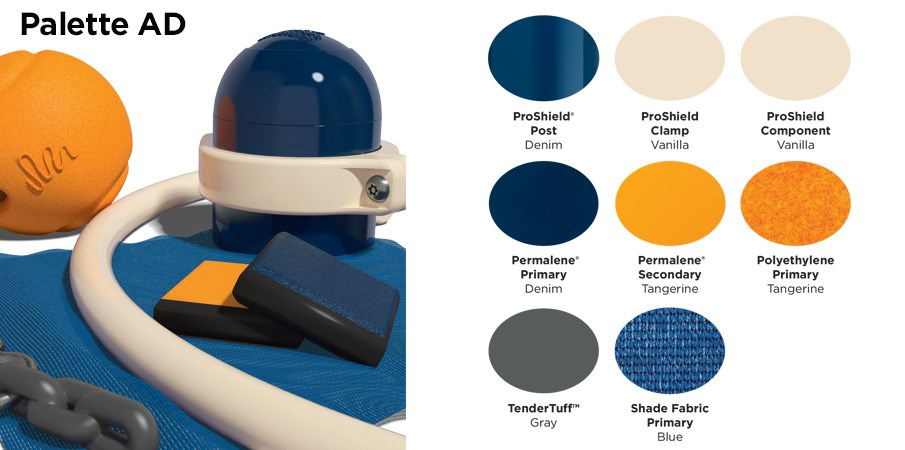Proprietary color AD palette with colors of navy blue and tangerine orange.