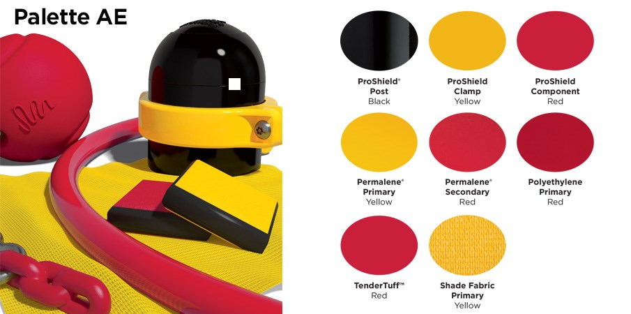 Proprietary color AE palette with colors of red, yellow and black.