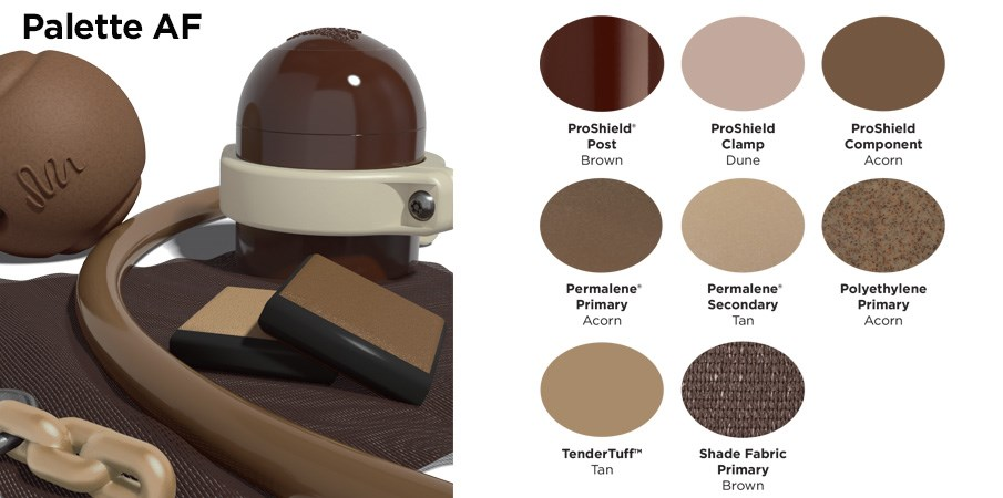 Proprietary color AF palette with colors of different shades of browns and tans.