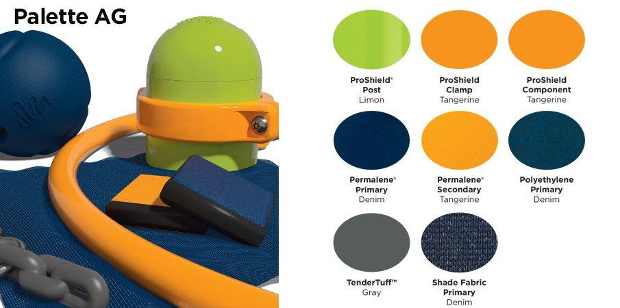 Proprietary color AG palette with colors of lime green, tangerine orange, navy blue and gray.