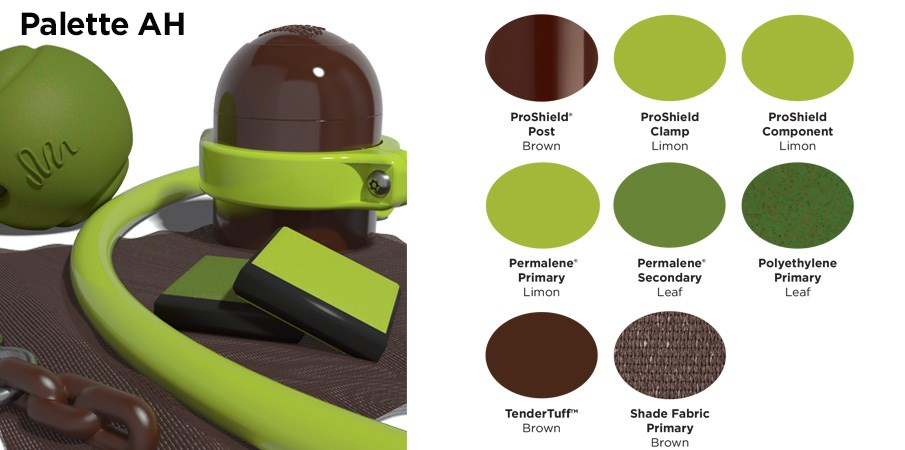 Proprietary color AH palette with colors of brown, lime green, and a leafy green.