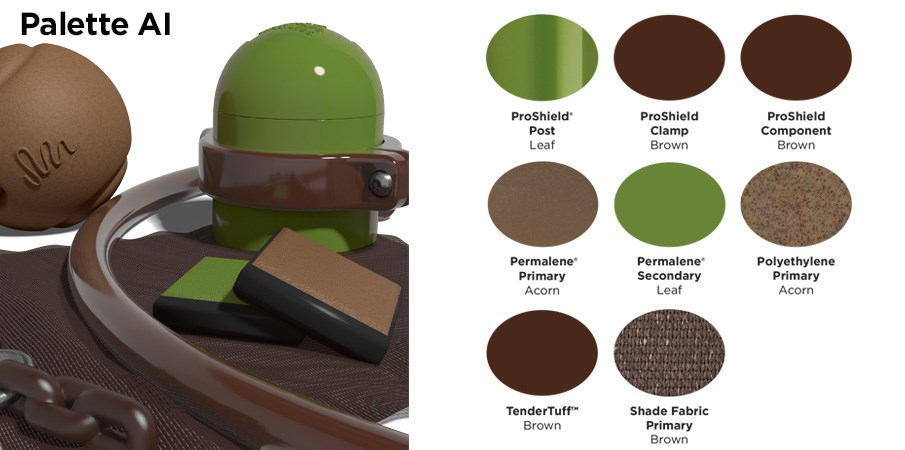 Proprietary color AI palette with colors of light and dark browns and leafy green.