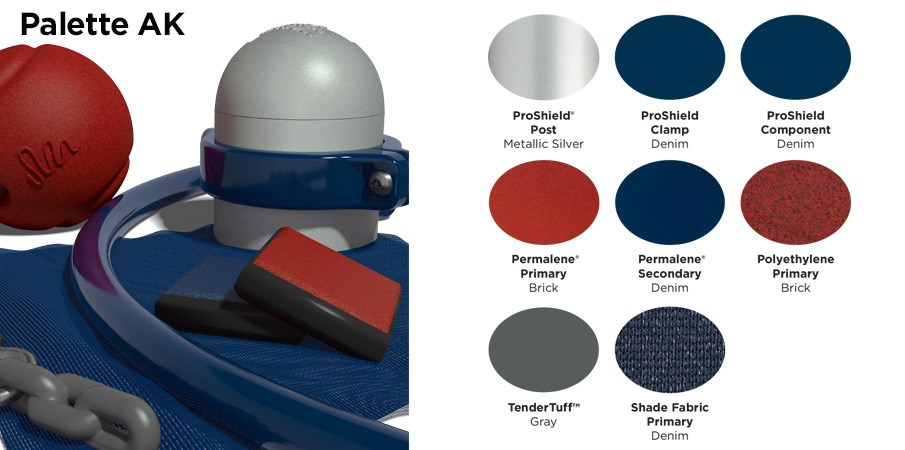 Proprietary color AK palette with colors of silver, navy blue and brick red.