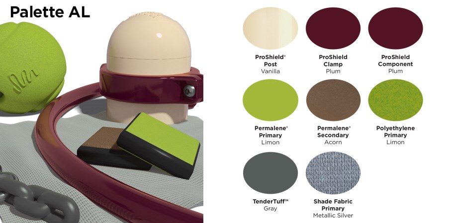 Proprietary color AL palette with colors of cream, maroon, brown, and gray.