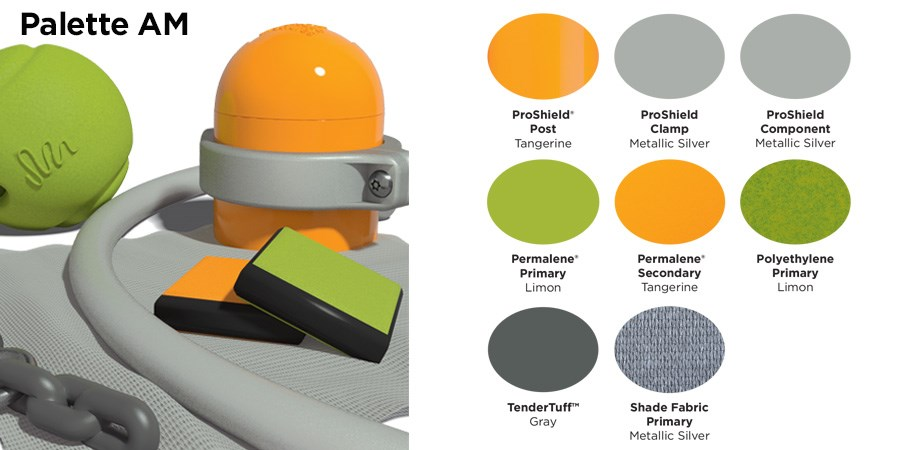 Proprietary color AM palette with colors of tangerine orange, silver, lime green and gray.