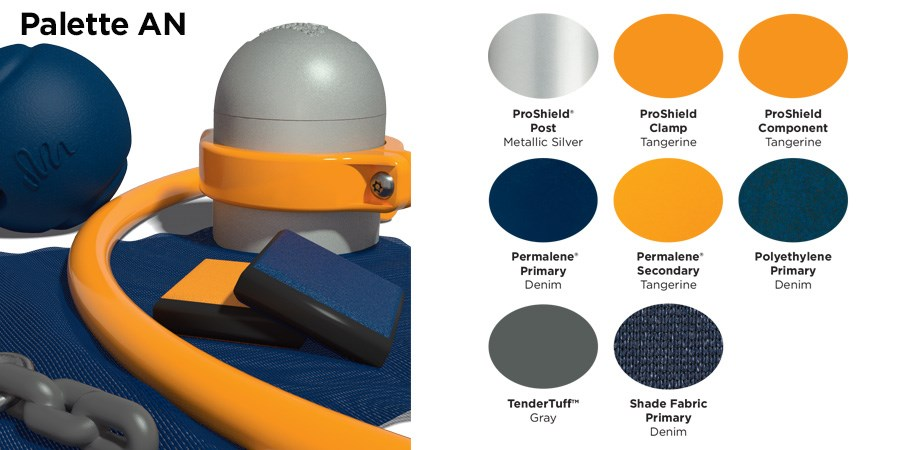 Proprietary color An palette with colors of silver, tangerine orange, navy blue, and gray
