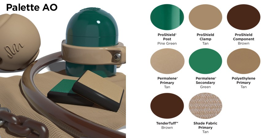 Proprietary color AO palette with colors of a dark and light green, tan, and brown.