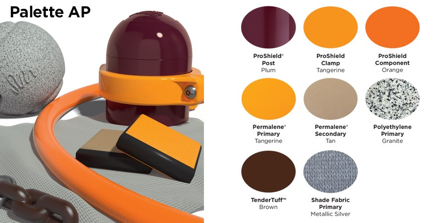 Proprietary color AP palette with colors of maroon, tangerine orange, tan, brown, silver, and a speckled granite.