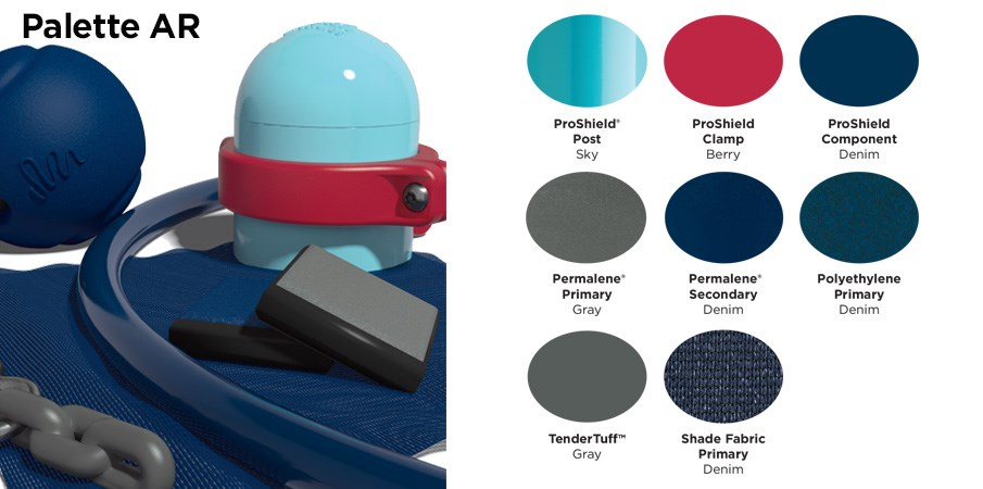 Proprietary color AR palette with colors of light blue, red, navy blue, and gray.