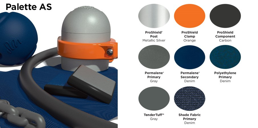 Proprietary color AS palette with colors of silver, orange, gray and navy blue.