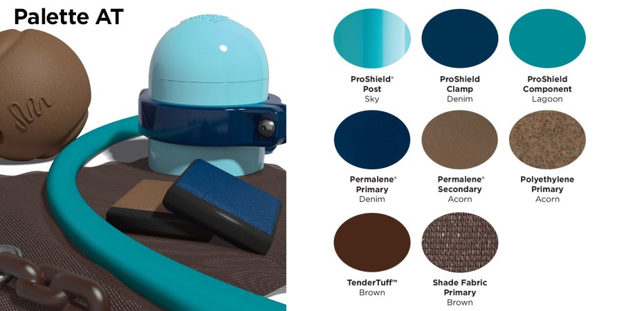 Proprietary color AT palette with colors of light blue, navy blue, and brown.